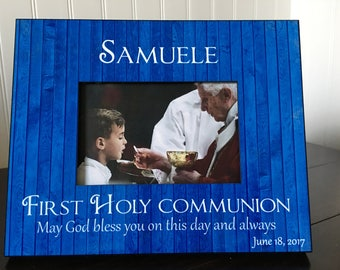 First Holy Communion picture frame // Personalized first communion gift // holds 4x6 photo