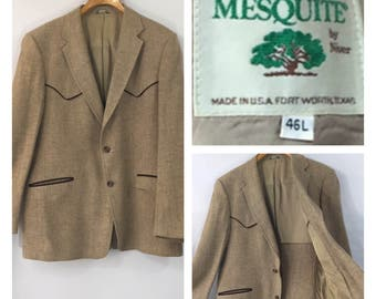 Western jacket blazer cowboy vintage ranch wear 70's 80's southwest cattle baron 46 L