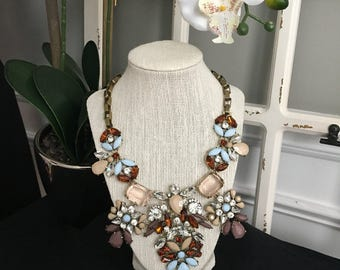 Brown and Blue Statement Necklace