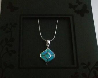 Pendant, Blue Opal, blue opal charm, silver opal pendant, women pendant, opal jewelry, Bijoux en opale, Opalschmuck, ciondolo opale,