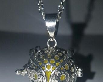 Aromatherapy OWL Locket Necklace  - Lemon Yellow