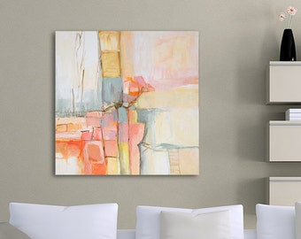 Abstract Painting, Large Wall Art, Canvas Wall Decor, Modern Art Painting, Acrylic Flower Painting, Pink Art, Orange Painting, Nature Art