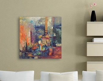 City Painting, Abstract Painting On Canvas, Wall Art Canvas, contemporary painting, Modern Abstract Art, Painting Oil, Green Painting