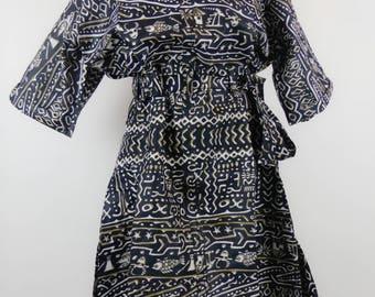 Elegant print dress bogolan