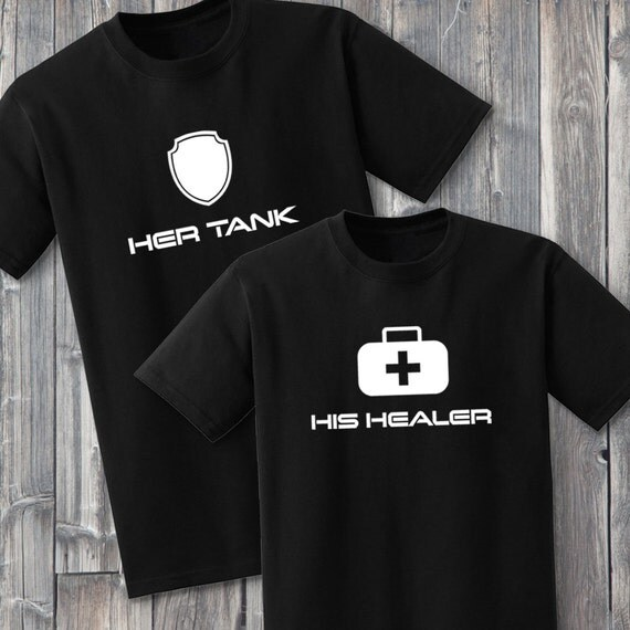 Tank and Healer 100% Soft Cotton Gaming Couple Matching Shirts