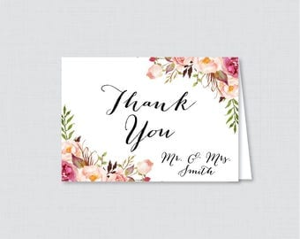 Printable OR Printed Wedding Thank You Cards - Pink Floral Thank You Cards Wedding - Rustic Pink Flower Personalized Thank You Cards 0004