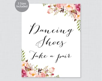 "Printable Dancing Shoes Sign - Pink Floral Wedding Dancing Shoes Sign - Rustic Pink Flower ""Dancing Shoes - Please Take a Pair"" 0004"