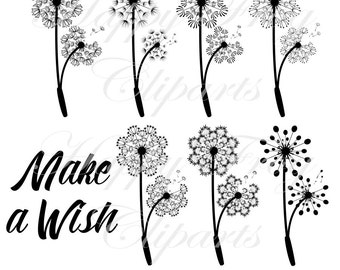 Make a Wish - Dandelions - Set 1 - HFC 005 - Dandelion, Instant download, Clipart, Vector, Graphic, Comercial Use