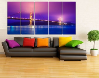 San Francisco Wall Art, Golden Gate Bridge Canvas Print, City Skyline Poster, Cityscape Art, Bridge Canvas Art, Golden Gate Wall Decor LC35