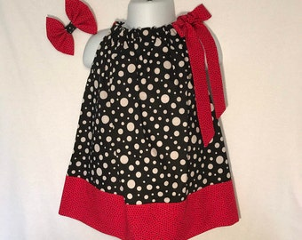 Baby Girls Black & White Polka Dot Dress with Bow; Black/Red Polkadot Pillowcase Dress; Polka Dot Dress Size 6-12 Months; FINAL REDUCTION!