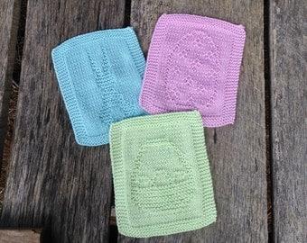 Knit Easter Dishcloth Set, Knit dishcloth set, Dishcloth trio, cleaning cloth