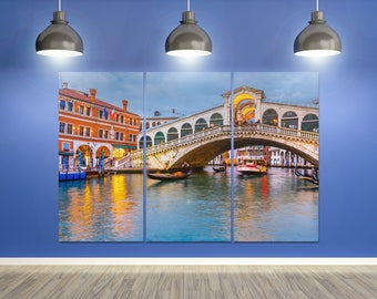 3 Pieces Venice, Rialto Bridge at Dusk Leather Print/Venezia Wall Art/Rialto Bridge Large Print/Large Wall Decor/Better than Canvas!