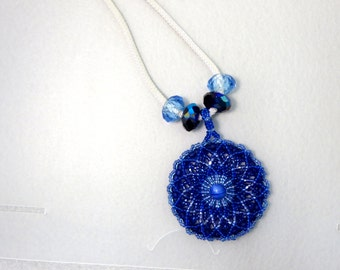 Beaded Mandala Pendant on Silver Plate Braided Chain