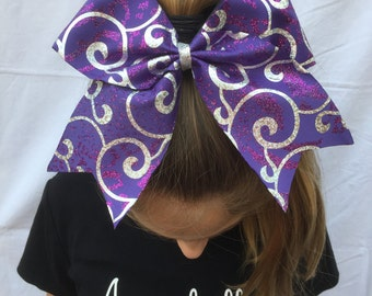 Pruple Swirls and Sparkles Cheer Bow