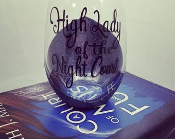 High lady of the night court, Sarah J Maas, ACOMAF, ACOWAR, Bookish Glass, A court of mist and fury, War and Ruin, night court, bookish gift