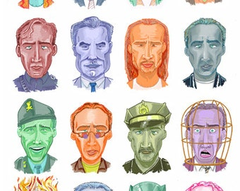 The Faces of Cage - A3 size - Wall Art