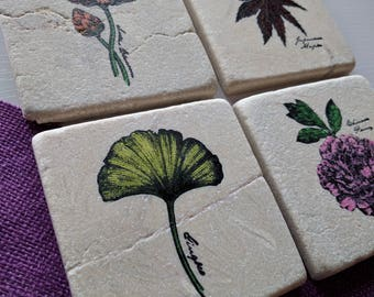 Oriental Gardens II Coasters, set of 4, Natural Tumbled Stone, Rustic Chic, flowers, leaves