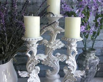 Tall White Pillar Candle Holders ~ Set of 3 ~ Table Centerpiece ~ Shabby Chic Decor ~ Wedding Decor