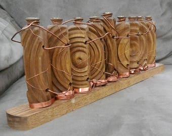 "Wood Menorah with ""Optical Illusion"" Carvings"