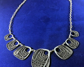 High Quality Handmade Bib Necklace Sterling Silver   Filigree made in Macedonia