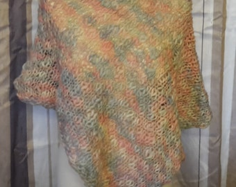 Hand knitted Pure wool Poncho