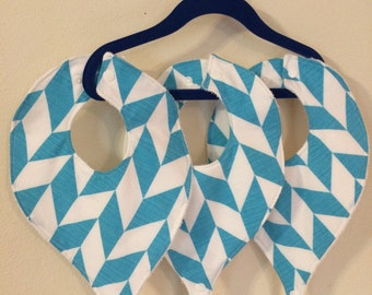 Pacifier Bibs, Binky Bibs, Blue/White Geometric