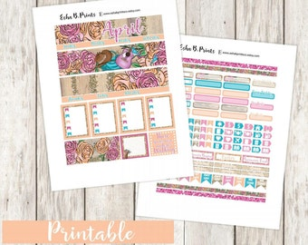 April Monthly Printable Planner Stickers/Monthly Kit/Weekly Kit/For Use with Erin Condren/May Rodeo Girl Cow Girl Country Western Glam