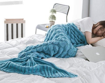 Yarn Knitted Mermaid Tail Blanket Handmade Crochet Throw Super Soft Sofa Bed Mat 195x90cm