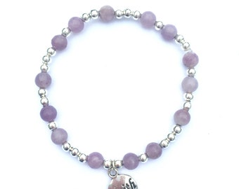 Faith lilac quartz charm bracelet