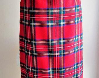 30% summer discount code 88WALKININTHESUN Pure New Wool /Plaid Skirt / Tartan/EU.size 40/Futterstoff Inside