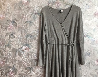 Grey wrap skater dress with long sleeves