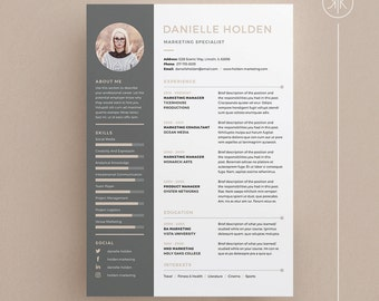 Danielle Resume/CV Template | Word | Photoshop | InDesign | Professional  Resume Design |  Resume In Indesign
