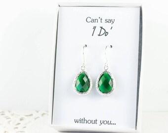 Emerald Silver Teardrop Earrings, Silver Green Earrings, Bridesmaid Gift, Wedding Jewelry, Bridesmaid Earrings, Green Bridal Accessories