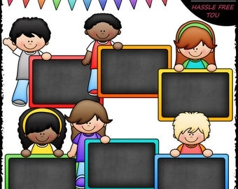 Colorful Chalkboard Kids Clip Art and B&W Set
