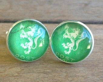 Beautiful green and silver cufflinks, Norway Lion, Postage Stamp, Green, Groomsmen, best man, wedding, Handmade jewelry, Norway postage stam