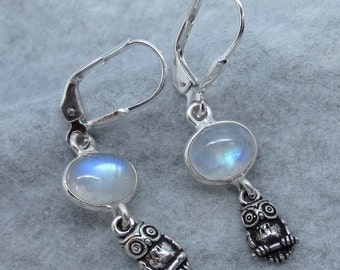 Moonstone and Owl Leverback Earrings - Sterling Silver - Free Shipping to the USA
