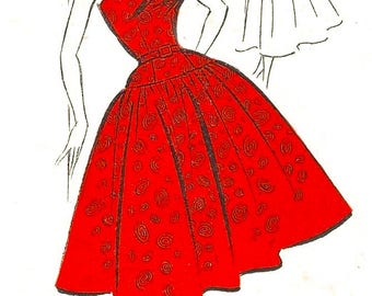 Vintage 1950's Sewing Pattern Square Neck Circle Dress Rockabilly Lowered Waist Square Neckline Bust 36""