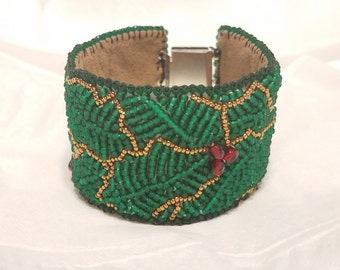 Holly Berry bead embroidery bracelet