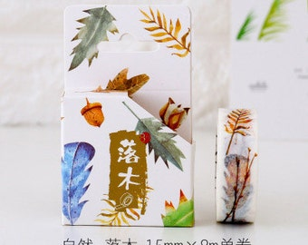 FALLING LEAF Japanese Washi Tape, Masking Tape, Planner Stickers,Crafting Supplies,Scraping Booking,Adhesive Tape,Floral Washi Tape
