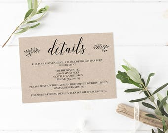 Rustic Wedding Information Card Printable Kraft Details Card Template Wedding Directions Cards Bridal Shower Details Card Wedding Inserts