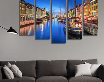 LARGE XL Copenhagen, Denmark Canvas the Nyhavn Canal Canvas Print Boats in the River at Nighttime Wall Art Print Home Decoration - Stretched