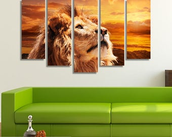 LARGE XL Lion Contemplating The Sky Canvas Print Orange Sunset Sea and Desert Canvas Wall Art Print Home Decoration - Stretched