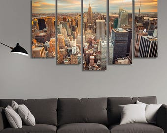 LARGE XL Sunset View at Manhattan, New York City Canvas Wall Art Print Home Decoration - Framed and Stretched - 1126