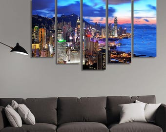 LARGE XL Hong Kong at Sunset Canvas Night City Wall Art Print Home Decoration - Framed and Stretched - 1115