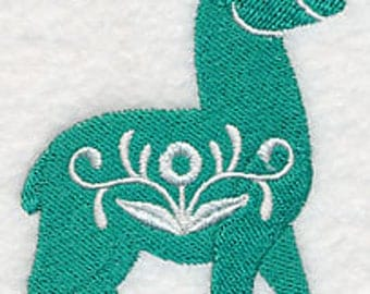 Floral Llama Embroidered Kitchen Towel