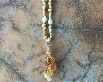 Handmade Raw Quartz Pendant Necklace