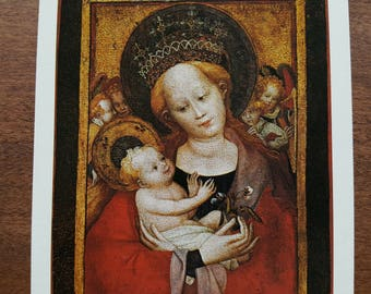 The Madonna of the Flowering Pea Unused Postcard Fine Art Painting Vintage 1970s Jesus Virgin Mary Mother and Child Religious Card