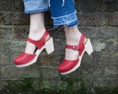 Swedish Clogs Highwood Red Leather by Lotta from Stockholm  Wooden Clogs  Summer Sandals  High Heel  Mary Jane Shoes  Made in Sweden