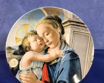 """1981 """"Madonna & Child"""" Annual Christmas Stamp Plate by Sandro Botticelli"""