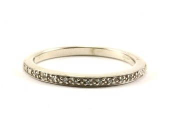 Vintage Thin Diamond Band Ring 925 Sterling Silver RG 168-E